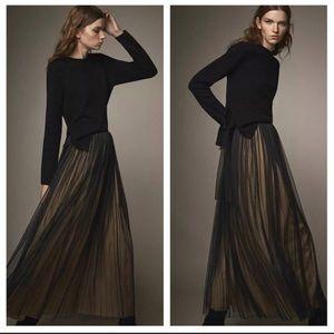 Massimo Dutti pleated tulle maxi skirt